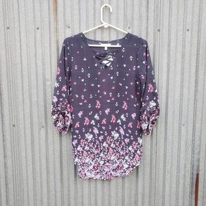 Maurices Floral Blouse Navy Blue Pink Size Small